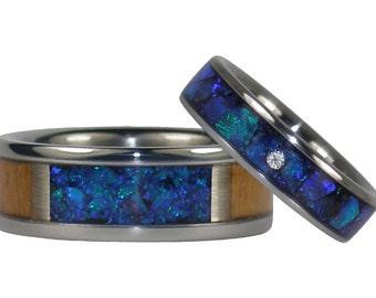 Blue Opal and Teak Wood Titanium Ring