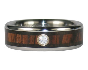 Mans Blackwood and King Wood Diamond Wedding Band