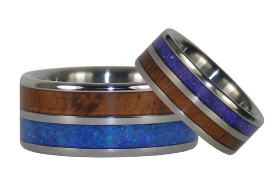 Blue Opal and Koa Wood Ring Set