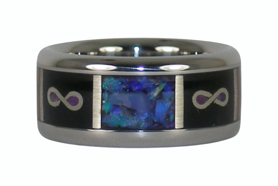 Black Opal Infinity Titanium Ring