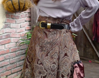 Bronze and Emerald Tapestry Victorian Bustle Skirt