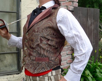 Brown and Emerald Tapestry Steampunk Victorian Lapeled Gentlemen's Vest