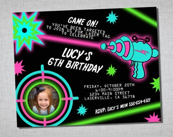Laser Tag Birthday Invitation - Girls Laser Tag - cosmic - black pink teal green - Laser Tag Invitation