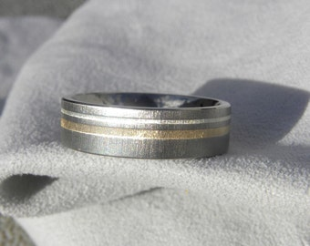 Titanium Ring or Wedding Band, Sterling Silver, Yellow Gold Inlay Stripes
