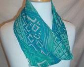 Blue Green Abstract Geometric Pattern Circular Silk Scarf Vintage Vera 60s