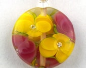 Yellow and Pink Sparkle Morning Glory Lampwork Glass Bead Necklace by Chase Designs