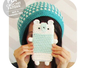 INSTANT DOWNLOAD - Kawaii cute funny bear cell phone case sleeve - PDF crochet pattern