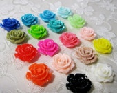 Drilled Resin Ruffled Rose Flower Choose Your Colors 14-15mm 932D
