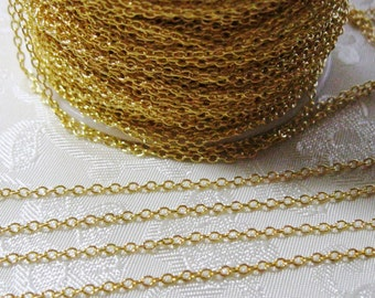 Gold Plated Brass Cross Chain Soldered Link Nickel and Lead Free 2mm x 1.5mm 373-GP