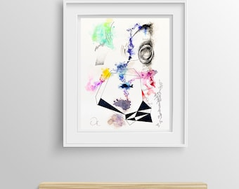 """Abstract painting - Watercolor Original Painting on paper 11.7"""" x 16.5"""". Modern painting, abstract art"""