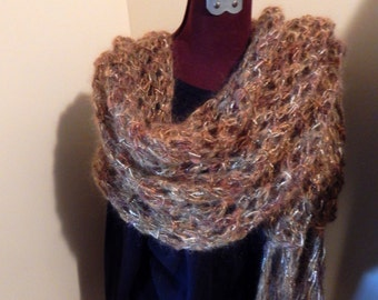 Hand Knit Rectangle Shawl/ Scarf