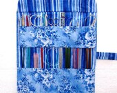 Blue Floral Knitting Needle Roll, White Striped Crochet Hook Storage, Double Pointed Needle DPN Case, Artist or Makeup Brushes Organizer