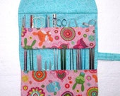 Pink Owls and Foxes Knitting Needle Case, Turquoise Floral Crochet Hook Storage, Knitting Supplies Holder, Double Pointed Needle Organizer