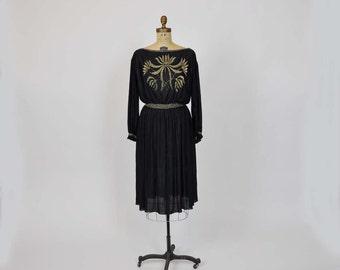 1970s dress / Wearable Art Vintage 70's Boho  Accordion Pleat Glitter Dress