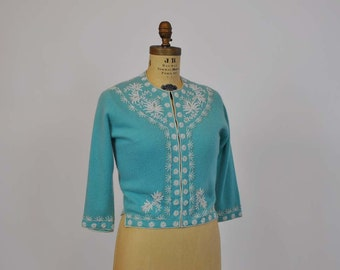 50s sweater /  Vintage 1950's Hand Beaded Blue Cardigan Sweater