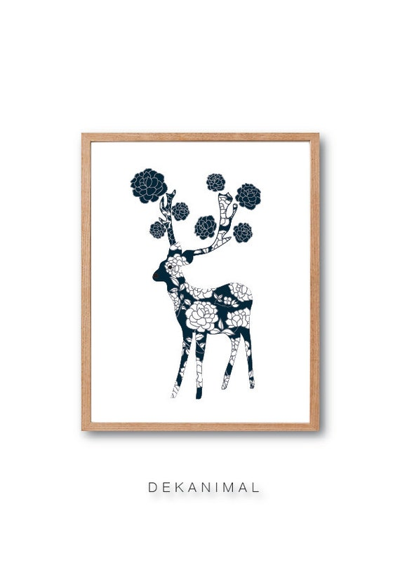 Deer Print - Deer Illustration, Reindeer Art print, Animal Illustration, Rose Flower Pattern, Floral Print, Kids room Art