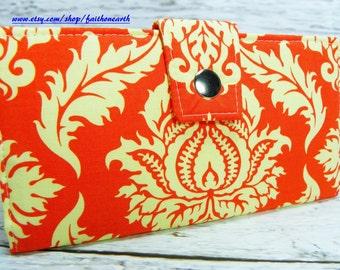 Damask in Saffron Handmade Long Wallet - BiFold Clutch - Vegan Wallet Large - Damask