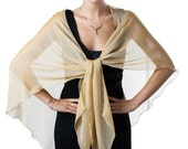 Promo Sale Antique Gold Formal Sheer Silk Scarf - Wrap
