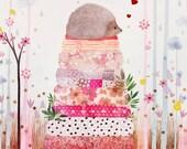 Hedgehog art, nursery art, cute print, woodland creature, animal painting, girl's nursery art, forest creature, pink flowers, botanical art,