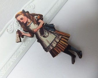 Alice in Wonderland Wooden Brooch