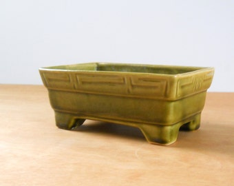 Vintage 1970s Brush McCoy Planter • Green USA Footed Rectangular Planter