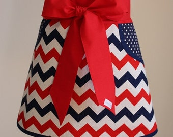 Red/White/Blue Half Apron - Personalized Half Apron - 4th of July Apron - Waitress Apron - Baking Apron - Hostess Apron - Half Apron - Apron