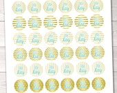 Bill and Pay Day Printable Planner Stickers - Gold Foil & Blue Instant Download PDF for Calenders Planners Home Management