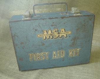 Vintage First Aid Kit MSA Safety Equipment Blue Metal First Aid Kit 1950s