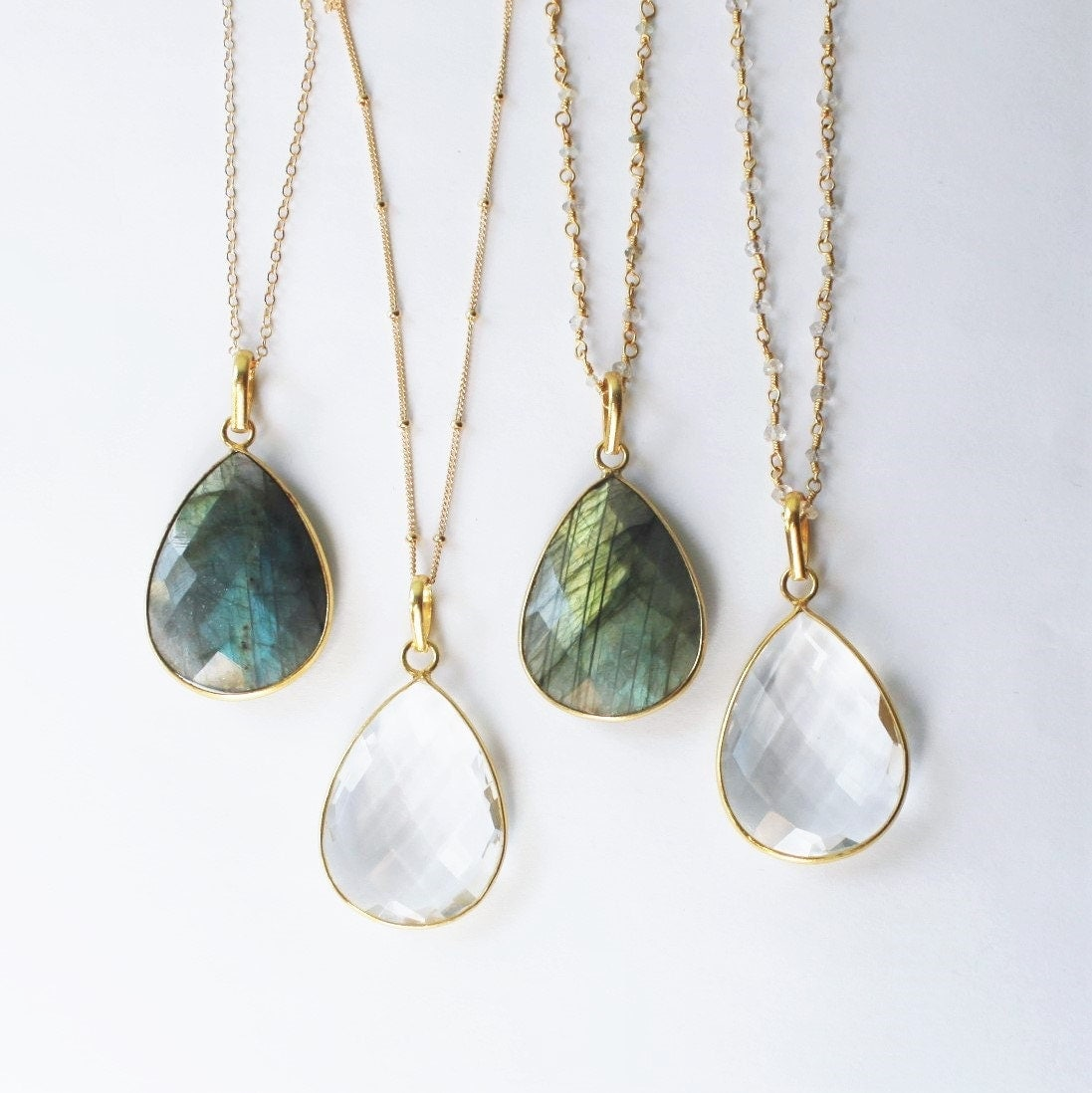 Long Necklace Crystal Long Pendant Necklace Teardrop Gold