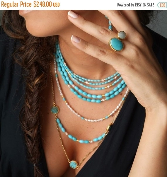 15% Discount Long Multi Layer Turquoise and Pearl Necklace
