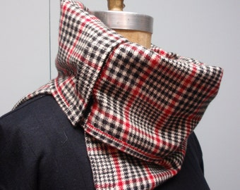 Flannel Neck Cowl with Snap Closure Plaid Red, White and Black