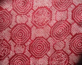 Shibori Kimono Silk Fabric Cranberry Geometric