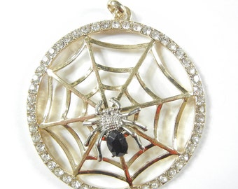 Large Round Spider Web Pendant Silver-tone Spider Rhinestone Edge Pendant Black Acrylic Faceted Body