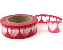 Sketchy Hearts Washi Tape - Red Washi Tape Roll - Valentine's Day Washi Tape - Wedding Washi Tape - Red Masking Tape - Washi Tape Australia