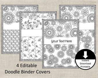 Binder Covers, Binder Insert, Doodle Color Page, Adult Color Page, School, Student, Teacher, Editable Binder Cover, Printable, Set of 4