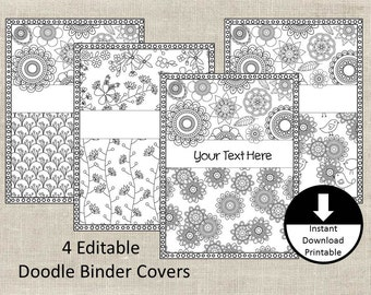 Doodle Color Page, Binder Covers, Binder Insert, Adult Color Page, School, Student, Teacher, Editable Binder Cover, Printable, Set of 4