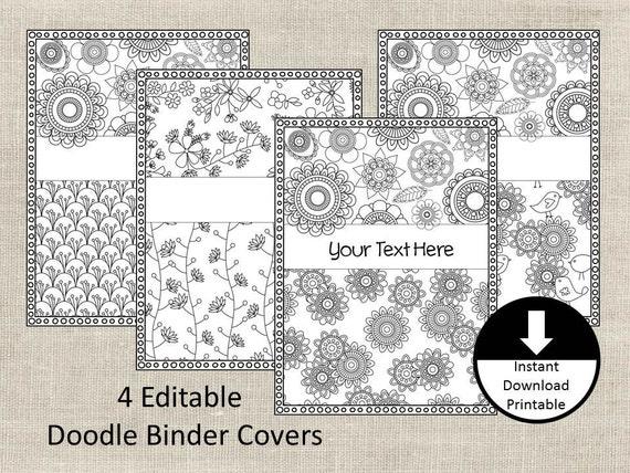 Doodle color page binder covers binder insert adult color for Binder coloring pages