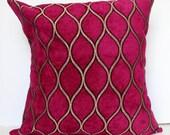 New 18x18 inch Designer Handmade Pillow Case. fuchsia with metallic gold thread