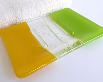 Fused Glass Soap Dish in Yellow and Spring Green by BPRDesigns