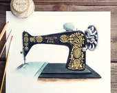 Mother's Day Gift Idea - Vintage Singer Sewing Machine Illustration - Watercolour Painting - Craft Room Decor - Alicia's Infinity