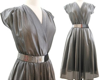 Vintage 70s 80s Dress Silver Sparkly Surplice Full Skirt Disco Dress M