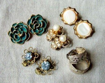 Five Pairs of 1960s Vintage Earrings - Clip-On Earrings with Pearls and Diamante, Flowers, Half Hoops
