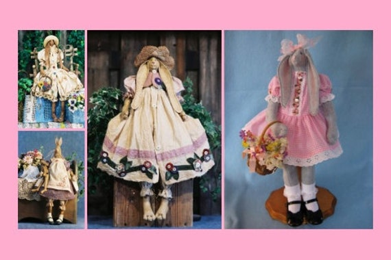Mailed Cloth Doll Patterns Special Collection of Country Rabbits