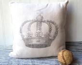 Crown pillow vintage grainsack feedsack cotton pillow Cream grey French Farmhouse Cottage Chic