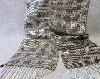 Handwoven Scarf, Tencel Scarf, Woven Scarf, Hand Woven Tencel Scarf, Gingko Scarf, Woven Tencel Scarf, Gingko Leaf, Taupe Scarf #16-06 Taupe