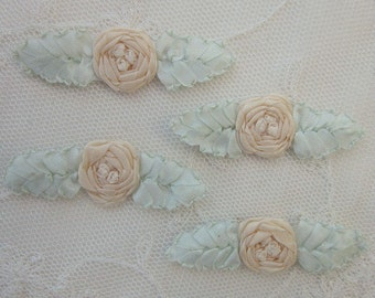 4pc Vintage Chic Pastel CREAM Silk Ribbon Embroidered Spider Rose Flower Applique Christening Gown Baby Doll Hair Bow