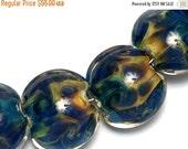 ON SALE 50% OFF Seven Blue & Orange Lentil Beads -10407502 Handmade Lampwork Glass