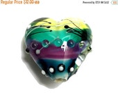 ON SALE 40% OFF New! Handmade Glass Lampwork Bead - 11837705 Begonia Stripes Heart