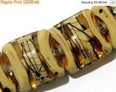 ON SALE 30% OFF Glass Lampwork Bead Set - Four Transparent Brown w/Beige Strips Pillow Beads 11106114