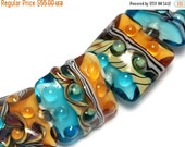 ON SALE 30% OFF Seven Amber Ocean Pillow Beads -10405504-Handmade Glass Lampwork Bead